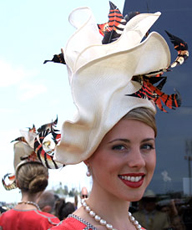 Designer hat by Louise Macdonald won third prize in the Professional Millinery Competition at the Melbourne Spring Racing Carnival 2008; the hat was made from parisisal straw, sinamay and tinted feathers