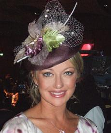 Melbourne Oaks Day Luncheon 2007: TV presenter Shelley Craft wears designer hat by Louise Macdonald Milliner (Melbourne, Australia)