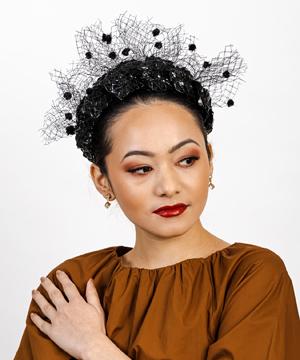 Designer hat Black Aurora with Halo Veil by Louise Macdonald Milliner (Melbourne, Australia)