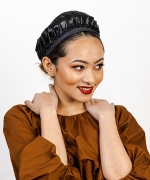 Designer hat Black Freya by Louise Macdonald Milliner (Melbourne, Australia)