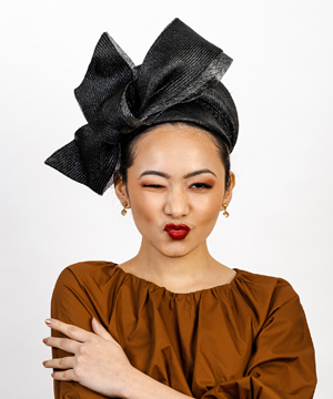 Designer hat Black and Silver Napoli by Louise Macdonald Milliner (Melbourne, Australia)