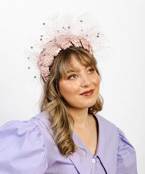 Designer hat Pink Aurora with Halo Veil by Louise Macdonald Milliner (Melbourne, Australia)