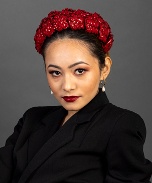 Designer hat Red Aurora by Louise Macdonald Milliner (Melbourne, Australia)