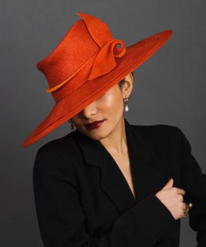 Designer hat Ruby Sunset by Louise Macdonald Milliner (Melbourne, Australia)