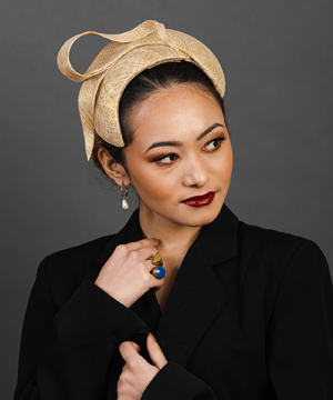 Designer hat Shadow in Gold and Natural by Louise Macdonald Milliner (Melbourne, Australia)