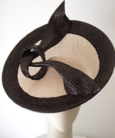 Designer hats Miss Moneypenny (photo) and Bibi Cap, by Melbourne milliner Louise Macdonald, were purchased by the National Gallery of Victoria (NGV) in 2008