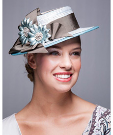 Fashion hat Blue Boater, a design by Melbourne milliner Louise Macdonald