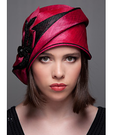Fashion hat Cerise and Black Cloche, a design by Melbourne milliner Louise Macdonald