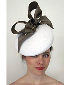 Fashion hat Delancy White and Moss, a design by Melbourne milliner Louise Macdonald