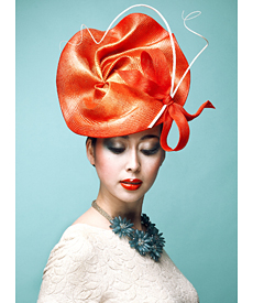 Fashion hat Tangerine Twirl, a design by Melbourne milliner Louise Macdonald