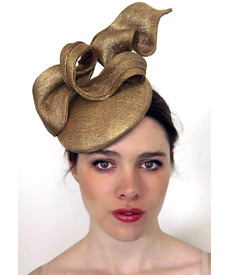 Fashion hat Gold Tennessee Twist, a design by Melbourne milliner Louise Macdonald