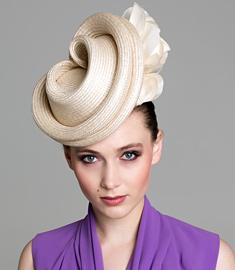 Designer hat Cream Albane by Louise Macdonald Milliner (Melbourne, Australia)