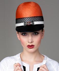 Designer hat Orange, Black and White Cap by Louise Macdonald Milliner (Melbourne, Australia)