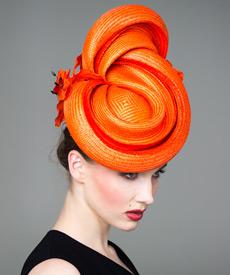 Designer hat Caussade Orange Headpiece by Louise Macdonald Milliner (Melbourne, Australia)