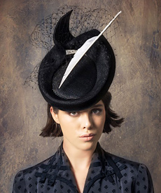 Designer hat Black Elodie Headpiece by Louise Macdonald Milliner (Melbourne, Australia)