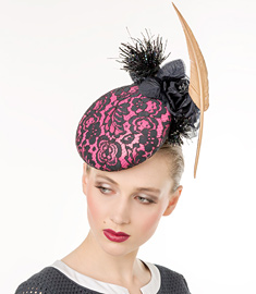 Designer hat Pink and Navy Lace and Leather by Louise Macdonald Milliner (Melbourne, Australia)