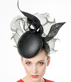 Designer hat Black Stella Headpiece by Louise Macdonald Milliner (Melbourne, Australia)