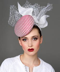 Designer hat Red and White Stella Headpiece by Louise Macdonald Milliner (Melbourne, Australia)