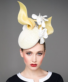 Fashion hat White and Yellow 'Stella' Headpiece, a design by Melbourne milliner Louise Macdonald