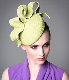 Designer hat Green Tunica Beret by Louise Macdonald Milliner (Melbourne, Australia)