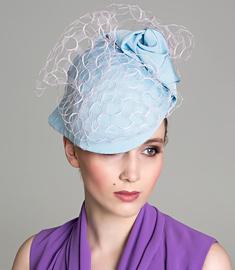 Designer hat Blue and Pink Soft Visor by Louise Macdonald Milliner (Melbourne, Australia)