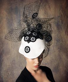 Designer hat Black and White Lace Soft Visor by Louise Macdonald Milliner (Melbourne, Australia)