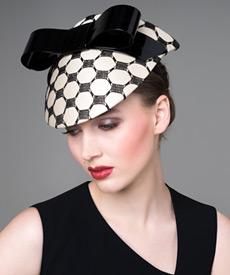 Designer hat Cream Silk Visor with Patent Bow by Louise Macdonald Milliner (Melbourne, Australia)