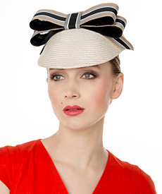 Designer hat Cream Straw Visor with Striped Bow by Louise Macdonald Milliner (Melbourne, Australia)