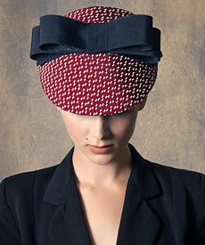 Designer hat Raspberry and Navy Visor by Louise Macdonald Milliner (Melbourne, Australia)
