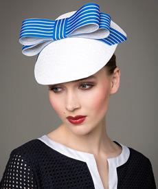 Designer hat White and Cobalt Visor by Louise Macdonald Milliner (Melbourne, Australia)
