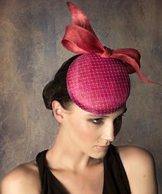 Designer hat Pink and Watermelon Button Beret by Louise Macdonald Milliner (Melbourne, Australia)