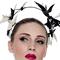 Fashion hat Ecru and Black Patent Artemis Leather Halo, a design by Melbourne milliner Louise Macdonald