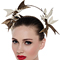 Fashion hat Ecru and Gold Artemis Leather Headpiece, a design by Melbourne milliner Louise Macdonald
