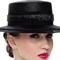 Fashion hat Black Boater, a design by Melbourne milliner Louise Macdonald