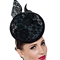 Fashion hat Teal Disc with Black Lace Detail, a design by Melbourne milliner Louise Macdonald