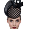Fashion hat Mahe Headpiece Taupe and Black, a design by Melbourne milliner Louise Macdonald