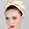 Fashion hat Mona Turban in Cream and Gold, a design by Melbourne milliner Louise Macdonald