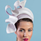 Fashion hat Josephine in White and Lavender, a design by Melbourne milliner Louise Macdonald