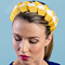 Fashion hat Lula Bandeau in Yellow and White, a design by Melbourne milliner Louise Macdonald