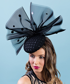 Designer hat Betsy Bow in Black by Louise Macdonald Milliner (Melbourne, Australia)