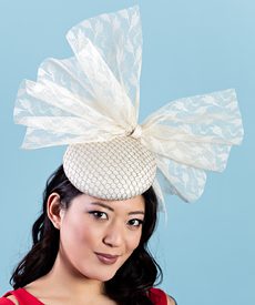 Designer hat Betsy Bow in Cream by Louise Macdonald Milliner (Melbourne, Australia)