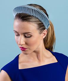Designer hat Blue Bandeau by Louise Macdonald Milliner (Melbourne, Australia)