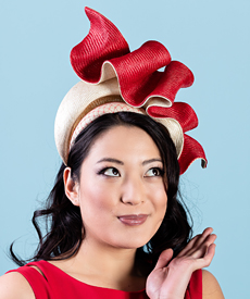 Designer hat Josephine in Red and Natural by Louise Macdonald Milliner (Melbourne, Australia)