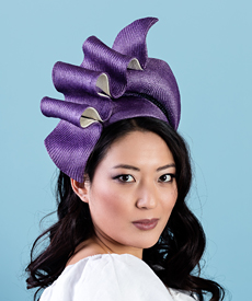 Designer hat Josephine in Violet and White by Louise Macdonald Milliner (Melbourne, Australia)