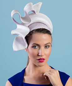 Designer hat Josephine in White and Lavender by Louise Macdonald Milliner (Melbourne, Australia)