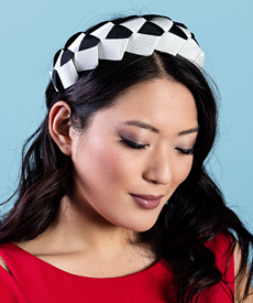 Designer hat Lula Bandeau in Black and White by Louise Macdonald Milliner (Melbourne, Australia)