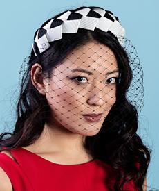 Designer hat Lula Bandeau in Black and White with detachable veil by Louise Macdonald Milliner (Melbourne, Australia)