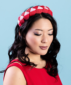 Designer hat Lula Bandeau in Red and Pink by Louise Macdonald Milliner (Melbourne, Australia)