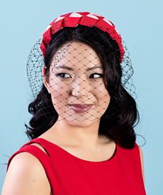 Designer hat Lula Bandeau in Red and Pink with detachable veil by Louise Macdonald Milliner (Melbourne, Australia)