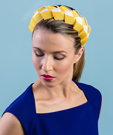 Designer hat Lula Bandeau in Yellow and White by Louise Macdonald Milliner (Melbourne, Australia)